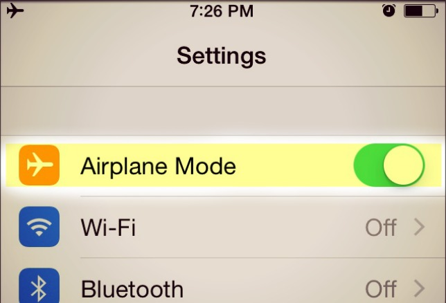 Airplane mode on iPhone