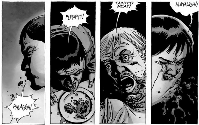 """The cannibals in the Walking Dead comics eat """"tainted meat,"""" or meat from a person who had been bitten by a walker."""