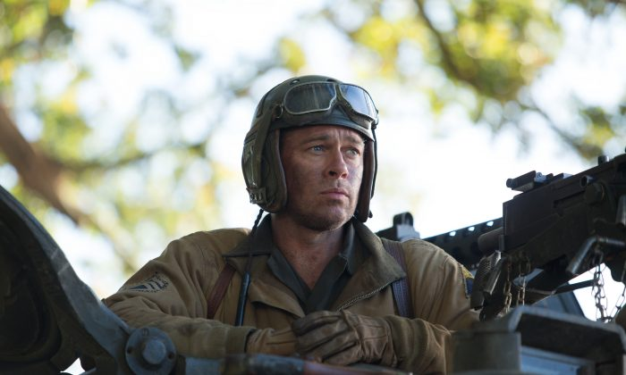 "This photo released by Sony Pictures Entertainment shows Brad Pitt as Sgt. Don ""Wardaddy"" Collier in Columbia Pictures' ""Fury."" (AP Photo/Sony Pictures Entertainment, Giles Keyte)"