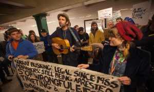Arrested Subway Musician Andrew Kalleen Brings Performers, Politicians to File Complaint