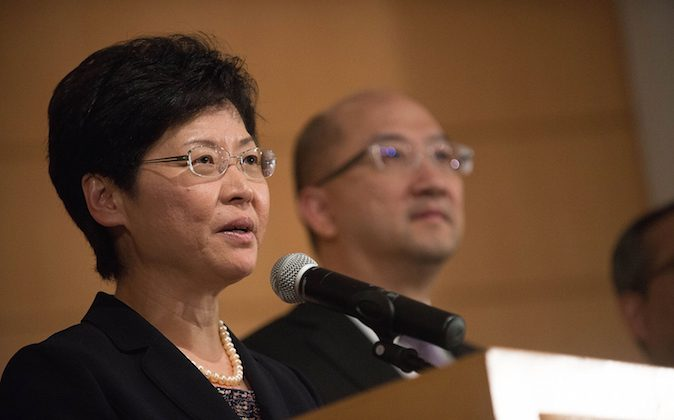 Chief Secretary for Administration of Hong Kong Government Carrie Lam speaks to the meidia after the meeting with Hong Kong Ferdatation of Students at Hong Kong Academy of Medicine in Wong Chuk Hang on October 21, 2014 in Hong Kong. Hong Kong Government and Hong Kong Ferdatation of Students held an open political dialogue to discuss 'universal suffrage'. (Photo by Anthony Kwan/Getty Images)