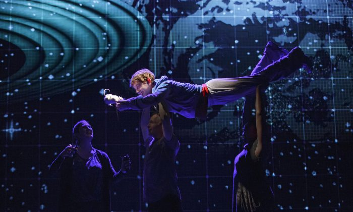 """Alex Sharp appears in a scene from the National Theatre production of """"The Curious Incident of the Dog in the Night-Time,"""" currently performing on Broadway at the Barrymore Theatre in New York. (AP Photo/Boneau/Bryan-Brown, Joan Marcus)"""