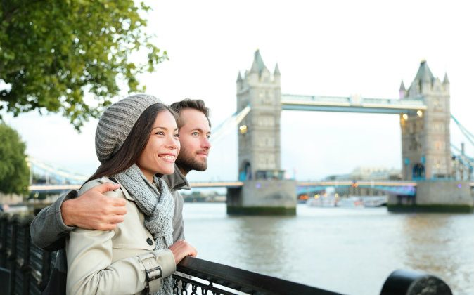 A couple by Tower Bridge, River Thames, London (Shutterstock*)