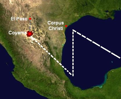 The alleged path of the UFO that collided with a small civilian airplane near Coyame, Mexico.  (Wikimedia Commons)