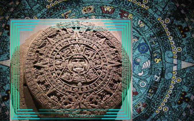The Sun Stone (Stone of Axayacatl). It depicts the 20 days around the Sun God.(Anagoria/Wikimedia Commons) Background: Mayan calendar (Nikiac/iStock/Thinkstock)