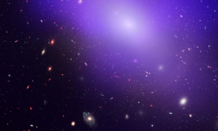This image shows elliptical galaxy NGC 1132, as seen by NASA's Chandra X-Ray Observatory. The blue/purple in the image is the X-ray glow from hot, diffuse gas that is not forming into stars. (NASA, ESA, M. West [ESO, Chile], and CXC/Penn State University/G. Garmire, et al.)