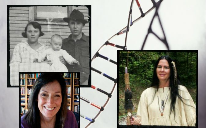 Participants in Dr. Donald Yates's Cherokee Native American DNA testing. Top Left: Karen Worstell's grandmother Odessa Shields Cox is shown with her husband William M. Cox and Worstell's mother, Ethel, as a baby, ca. 1922. Bottom Left: Karen Worstell. Right: Jan Franz. (Courtesy of Dr. Donald Yates)