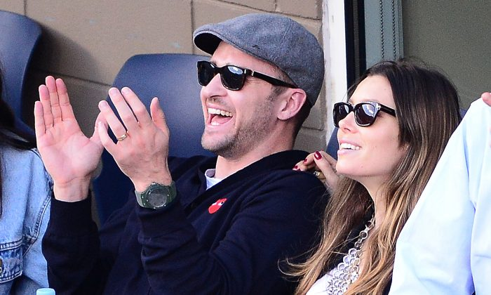 Justin Timberlake and Jessica Biel watch the men's singles final match between Novak Djokovic of Serbia and Rafael Nadal of Spain on Day Fifteen of the 2013 US Open at the USTA Billie Jean King National Tennis Center on September 9, 2013 in the Flushing neighborhood of the Queens borough of New York City. (Clive Brunskill/Getty Images)