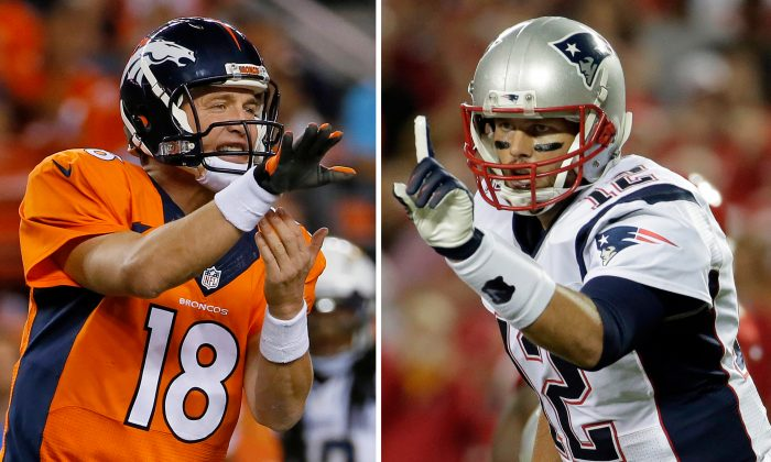 FILE - At left, in an Oct. 23, 2014, file photo, Denver Broncos quarterback Peyton Manning calls a play against the San Diego Chargers during the first half of an NFL football game in Denver. At right, in a Sept. 29, 2014, file photo, New England Patriots quarterback Tom Brady points on the line of scrimmage during the first quarter of an NFL football game against the Kansas City Chiefs in Kansas City, Mo. New England has little time to savor its fourth straight win, a 51-23 pounding of the Chicago Bears. The Patriots must get ready to host Peyton Manning and the Denver Broncos next Sunday in the first of five straight games against top teams.(AP Photo/File)