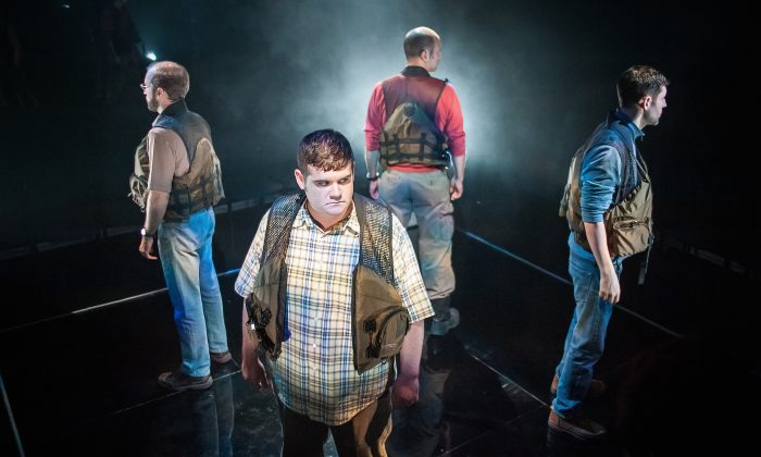 """(Clockwise, starting center) Jarrod Zayas, Sean Tant, Gregory Konow, and Nick Paglino play four friends caught in a life and death situation in an adaptation of James Dickey's """"Deliverance."""" (Jason Woodruff)"""