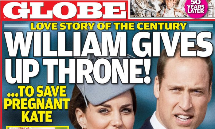 """Prince William has """"stunned the royal family"""" and given up his right to the throne of England over pregnant wife Kate Middleton, according to a tabloid report on Thursday. (Globe magazine)"""