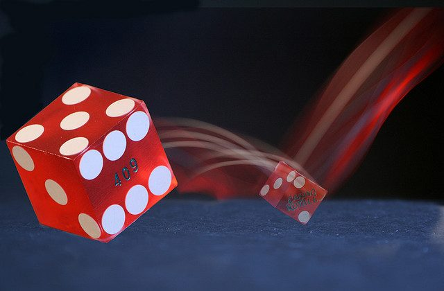 Spinning dice.