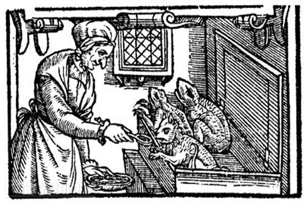Featured Image: Illustration of a witch feeding her familiars. 16th Century. (Public Domain)