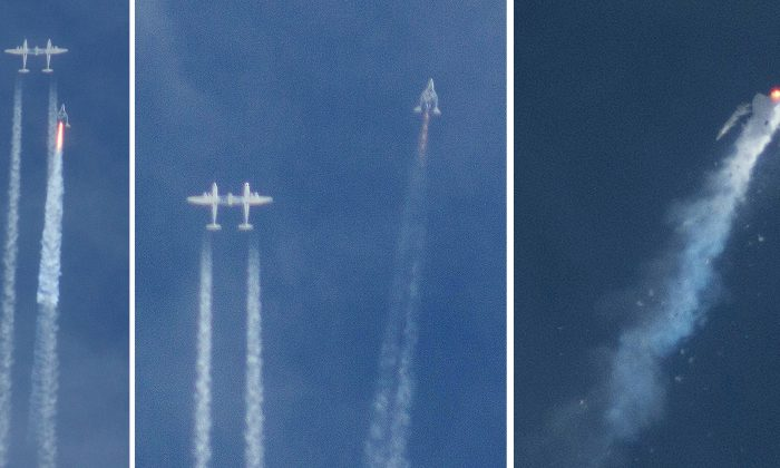 This three image combo photo shows the Virgin Galactic SpaceShipTwo rocket separating from the carrier aircraft, left, prior to it exploding in the air, right, during a test flight on Friday, Oct. 31, 2014. The Virgin Galactic rocket that exploded during a test flight, killed a pilot aboard and seriously injured another while scattering wreckage in Southern California's Mojave Desert, witnesses and officials said. (AP Photo/Kenneth Brown)