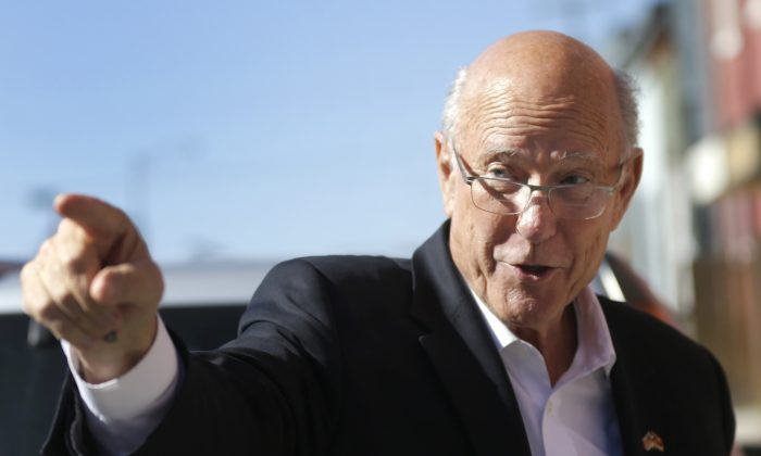 Sen. Pat Roberts (R-Kansas)  on a campaign stop in Leavenworth, Kansas., on Oct. 30, 2014. The Senator beat Independent candidate Greg Orman to retain his seat. (AP Photo/Orlin Wagner)