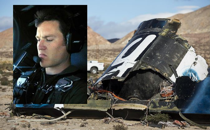 Left: Michael Alsbury, who was killed while co-piloting the test flight of Virgin Galactic SpaceShipTwo on Friday, Oct. 31, 2014. (AP Photo/Scaled Composites) Right: Wreckage lies near the site Saturday, Nov 1, 2014, where SpaceShipTwo exploded and crashed in Mojave, Calif. (AP Photo/Ringo H.W. Chiu)