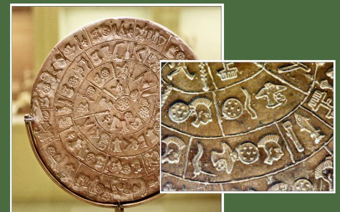 The Phaistos Disc and a close-up view of the symbols inscribed. (Wikimedia Commons)
