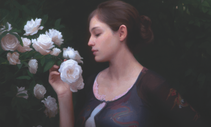 """A selection from """"Morning Roses,"""" 2014, by Adrian Gottlieb, Oil on canvas. (Courtesy of Adrian Gottlieb)"""