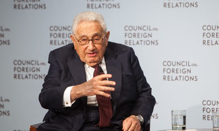 Former Secretary of State Henry A. Kissinger talks about the Cold War at the Council on Foreign Relations symposium to the 25th anniversary of the fall of the Berlin Wall in Upper East Side Manhattan, New York, on Nov. 4, 2014. (Petr Svab/Epoch Times)