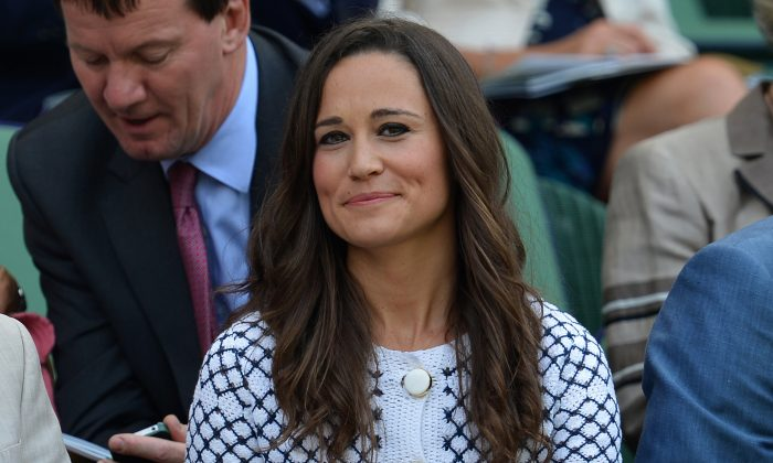 Pippa Middleton (C) sister of Britain's Catherine Duchess of Cambridge, sits in the Royal Box on Centre Court on day four of the 2012 Wimbledon Championships tennis tournament at the All England Tennis Club in Wimbledon, southwest London, on June 28, 2012. (AFP/GettyImages)