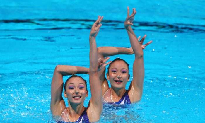 Twin sisters Jiang Tingting and Jiang Wenwen of China compete in the Synchronized Swimming Duet of the 15th FINA World Championships at Palau Sant Jordi on July 23, 2013 in Barcelona, Spain. (Alexander Hassenstein/Getty Images)