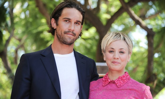 Kaley Cuoco, right, and husband Ryan Sweeting attend the ceremony honoring Cuoco with a star on the Hollywood Walk of Fame on Wednesday, Oct. 29, 2014, in Los Angeles. (Photo by Richard Shotwell/Invision/AP)