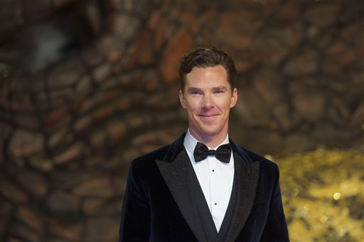 "In this Dec. 9, 2013 file photo, British actor Benedict Cumberbatch arrives for the European Premiere of the movie ""The Hobbit: The Desolation of Smaug"" in Berlin. Sherlock'' star Benedict Cumberbatch has announced his engagement to theater director Sophie Hunter, making the news public with a minuscule eight-line announcement in The Times newspaper in London. (AP Photo/Gero Breloer, file)"