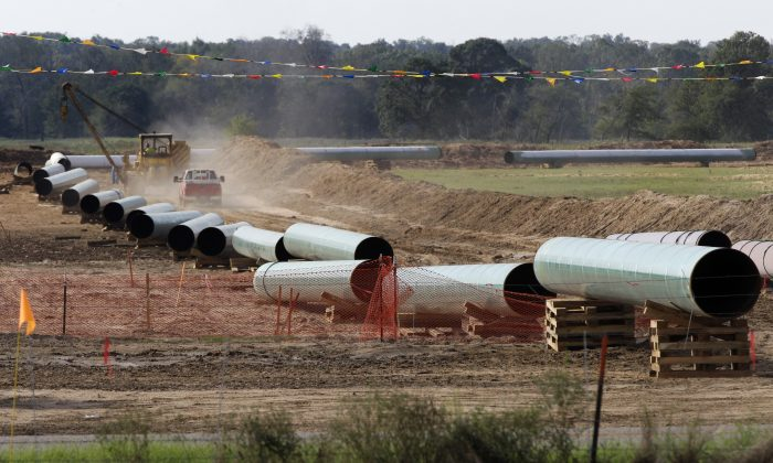Large sections of pipe are shown in Sumner, Texas, on  Oct. 4, 2012. (AP Photo/Tony Gutierrez)