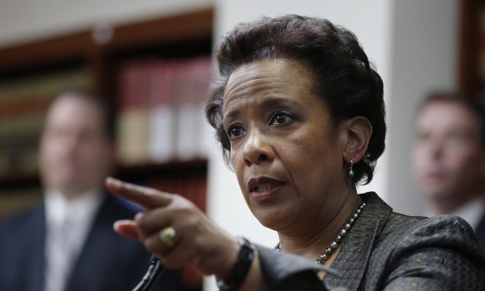 Loretta Lynch, U.S. Attorney for the Eastern District of New York, during a news conference in New York on April 28, 2014. Lynch could be one of a handful of contenders being considered to replace Eric Holder when he steps down as U.S. Attorney General. (AP Photo/Seth Wenig)