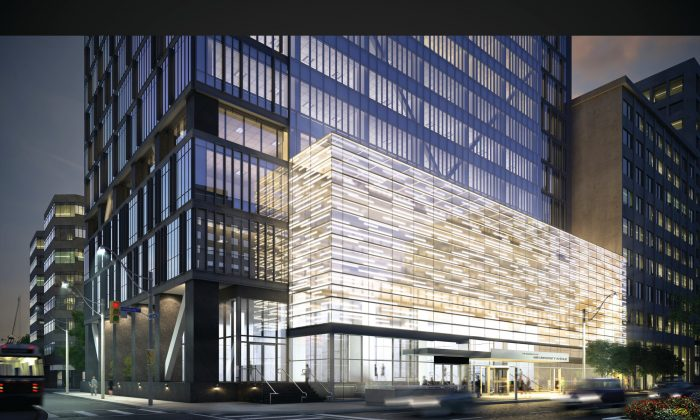 Artist's rendering of The Residences of 488 University Avenue, a 55-storey mixed-use project at the northwest corner of University Ave. and Dundas St. West in Toronto. (Amexon Development Corporation)