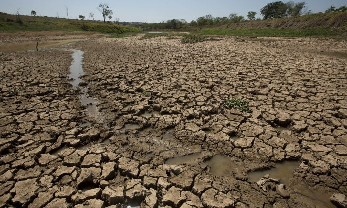 The earth lays cracked in the nearly empty Itaim dam, responsible for providing water to the Sao Paulo metropolitan area, in Itu, Brazil on Oct. 30, 2014. (AP Photo/Andre Penner)