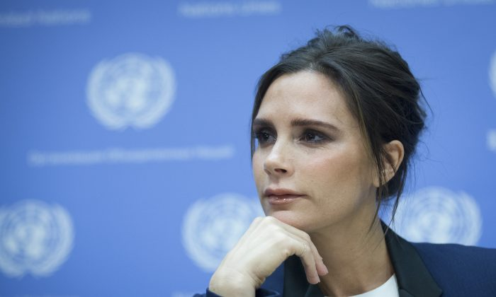 Fashion fesigner Victoria Beckham attends news conference as she is named an United Nation's Goodwill Ambassador during the 69th U.N. General Assembly at U.N. headquarters, Thursday, Sept. 25, 2014. (AP Photo/John Minchillo)