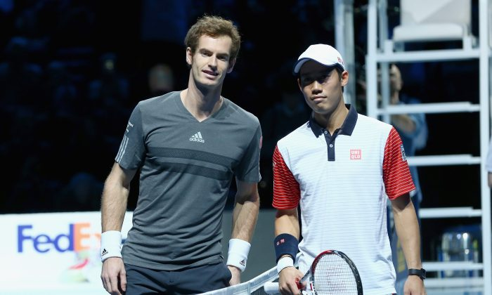 Andy Murray of Great Britain and Kei Nishikori of Japan prior to their round robin match during the Barclays ATP World Tour Finals at the O2 Arena on November 9, 2014 in London, England. (Clive Brunskill/Getty Images)