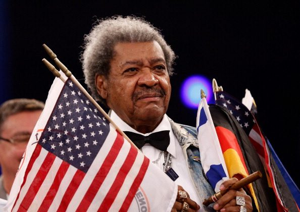 Don King of United States looks on during the WBA light heavyweight title fight between Juergen Braehmer of Germany and Marcus Oliveira of United States at Jahnsportforum on December 14, 2013 in Neubrandenburg, Germany.  (Photo by Boris Streubel/Bongarts/Getty Images)