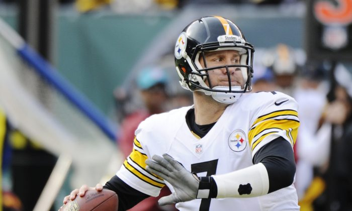 Pittsburgh Steelers quarterback Ben Roethlisberger (7) prepares to throw a pass during the first half of an NFL football game against the New York Jets, Sunday, Nov. 9, 2014, in East Rutherford, N.J. (AP Photo/Bill Kostroun)