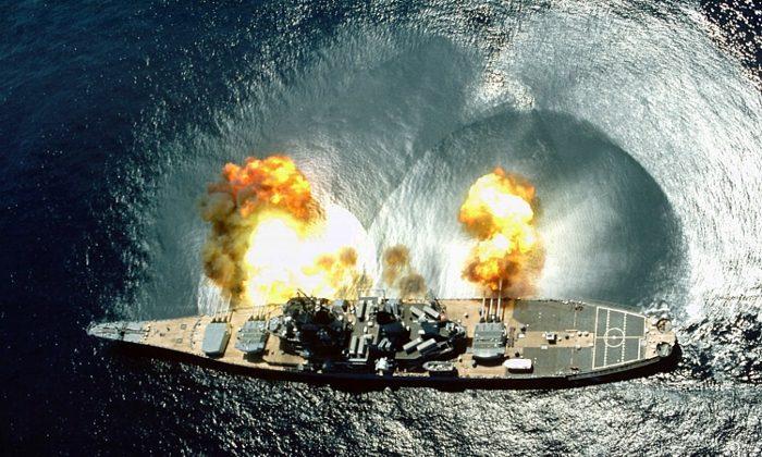 Battleship Iowa Fires all guns simultaneously. (US Navy).