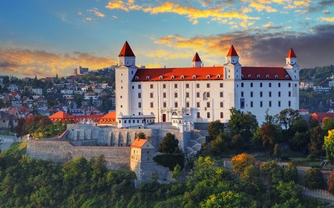 Bratislava castle at sunset via Shutterstock*