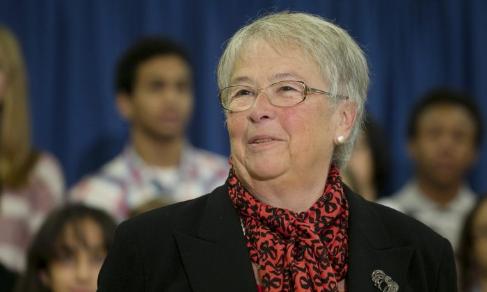 Carmen Fariña, NYC schools chancellor during a news conference in Brooklyn, New York, on Dec. 30, 2013. Mayor Bill de Blasio announced Wednesday, Nov. 12, 2014, that his administration has met its goal of enrolling more than 53,000 children in full-day prekindergarten classes. (AP Photo/Mark Lennihan)