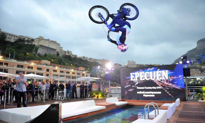 ROCKING MONTE CARLO: Street trials rider Danny MacAskill performs at the Red Bull Energy Station ahead of the Monaco Formula One Grand Prix at Circuit de Monaco on May 22nd, 2014 in Monte-Carlo, Monaco (Gareth Cattermole/Getty Images)