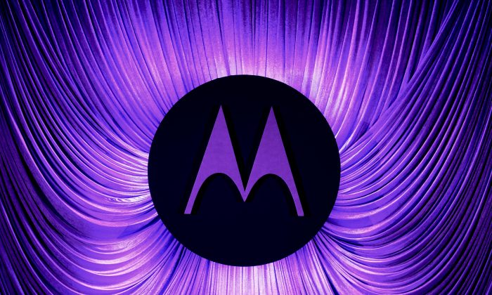A Motorola logo is seen before a press conference by Motorola during the 2014 Mobile World Congress in Barcelona on Feb.25, 2014. (Josep Lago/AFP/Getty Images)