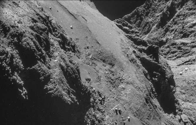 A view from Rosetta's navigation camera on 26 October, about 8 km above the comet's surface, from which range the field of view is less than 1 km across. (ESA)