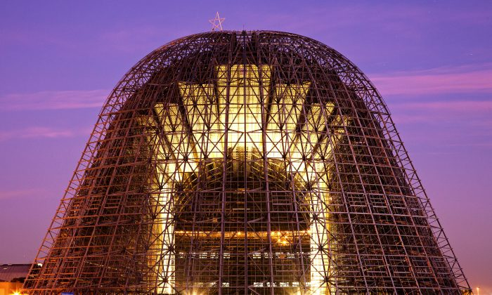 An undated photo of Hangar One, stripped of its skin because of potentially hazardous substances. Google has pledged to renovate the historic structure as part of the lease agreement with NASA. (Courtesy of NASA)