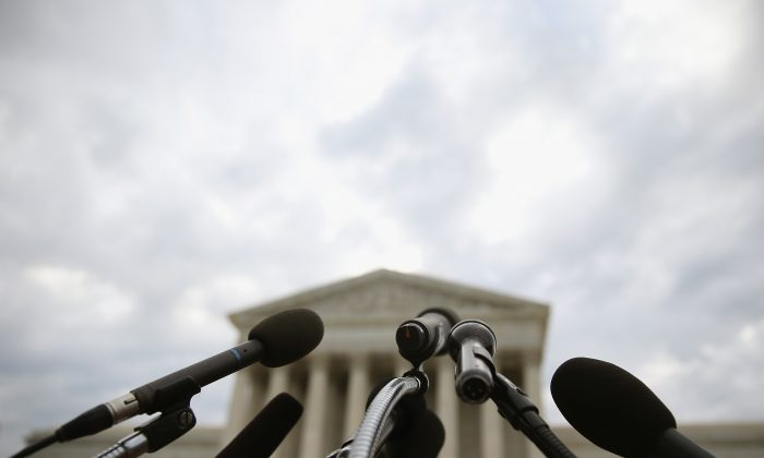Microphones are set up in front of the U.S. Supreme Court, June 30, 2014 in Washington, D.C. (Mark Wilson/Getty Images)