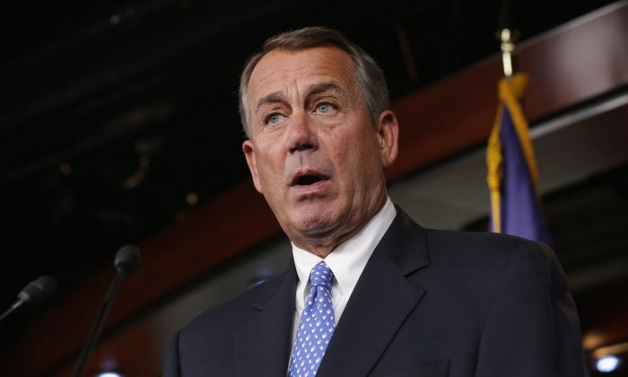 Speaker of the House John Boehner (R-OH) holds a news conference with the newly-elected members of the House GOP leadership at the US Capitol Nov. 13, 2014, in Washington, DC. (Chip Somodevilla/Getty Images)