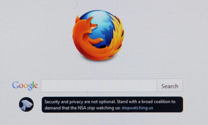 A desktop screen at an office in Bangkok on June 25, 2013 displays the homepage for the Mozilla Firefox browser with a message for its users that says: 'Security and privacy are not optional. (Nicolas Asfouri/AFP/Getty Images)
