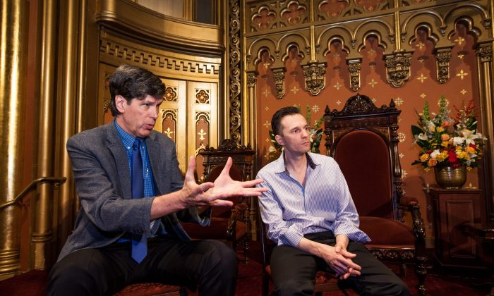 "Rev. Robert Chase (L), founding director of Intersections International, and Hadrien Coumans, co-founder and director of Lenape Center, at the Marble Collegiate Church, 1 W 29th Street, Manhattan, New York, on Nov. 5, 2014. Chase and Coumans were instrumental in bringing the Native American opera, ""Purchase of Manhattan"" to the Marble Collegiate Church, to be presented on Nov. 20, 2014. (Petr Svab/Epoch Times)"