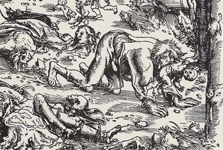 Woodcut of a werewolf attack, by Lucas Cranach the Elder, 1512. (Wikimedia Commons)