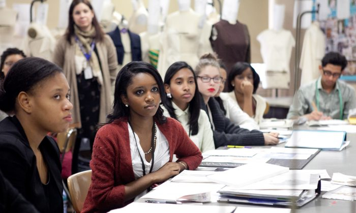Students at the High School of Fashion Industries on Feb. 7, 2014. (Samira Bouaou/Epoch Times)
