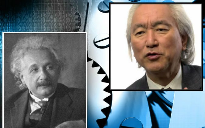 Left: Albert Einstein in 1931. (Doris Ulmann via Wikimedia Commons) Right: Michio Kaku. (Screenshot/Big Think/YouTube) Background: Mechanical gears. (Shutterstock*)