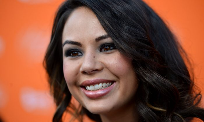 Actress Janel Parrish arrives at at the Screening Of ABC Family's 'Pretty Little Liars' Special Halloween Episode at Hollywood Forever Cemetery on October 16, 2012 in Hollywood, California. (Photo by Frazer Harrison/Getty Images)